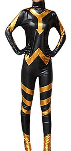 [Seeksmile Unisex Black and Golden Shiny Metallic Zentai (Small, Black)] (Black Suit Spiderman Costume 10-12)