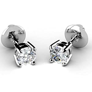 2.00Ct Round Diamond Stud Earring,950 Platinum