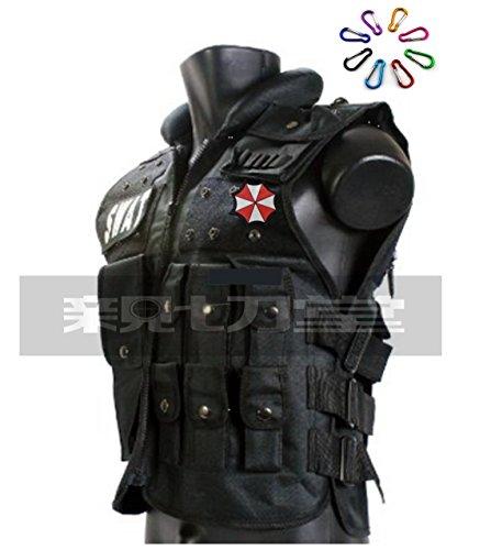 親切堂 バイオハザード(BIOHAZARD)アンブレラ社ベスト Tactical Vest (タクティカルベスト)装備品セット 特殊部隊防弾チョッキ・ボディアーマー フリーサイズ調整可 ブラックver