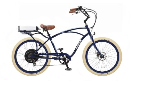Pedego Blue Comfort Cruiser Classic Electric Bike with Blue Rims and Creme Balloon Tires