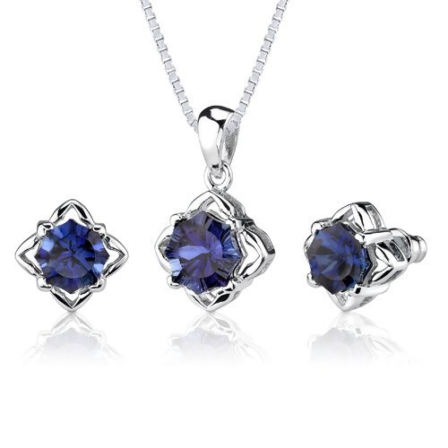 Revoni Exclusive Sophistication: 10.25 carat Concave-Cut Snowflake Blue Sapphire Pendant Earring Set in Sterling Silver