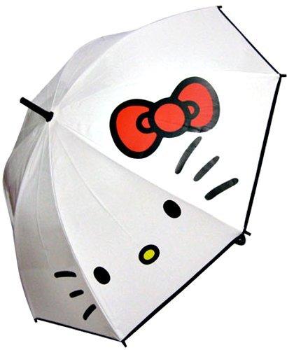 スモールプラネット HELLO KITTY ビニール(白)傘 ハローキティフェイス 親骨55cm ポリエチレン HKUM06