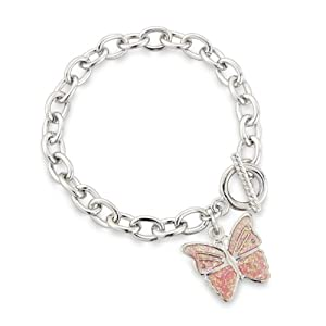 Pale Pink Butterfly Charm Bracelet finished with T-Bar fixing - Children's Jewellery -Includes pretty gift bag - Ideal jewellery present.