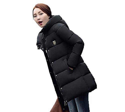 GuDeKeレディース 冬 アウター 軽量 ダウン ロング コート ダウン ジャケット 中綿 防寒 ゆったり フード付き 中綿 厚手 ダウンジャケット 大き目アウター 防風(ブラック4.2.2)