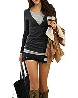 DJT 2 en 1 Slim Fit chandail top à manches longues femme
