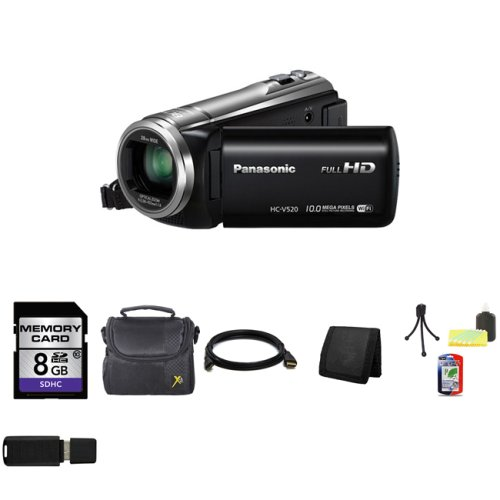 Panasonic HC-V520 HD Digital Camcorder with 80x Zoom and HC-V520 HD Digital Camcorder with 80x Zoom and Wi-Fi and Live Streaming (Black) + 8GB SDHC Class 10 Memory Card + Carrying Case + HDMI Cable + Memory Wallet + Table Top Tripod, Lens Cleaning Kit, LCD Protector + USB SDHC Reader