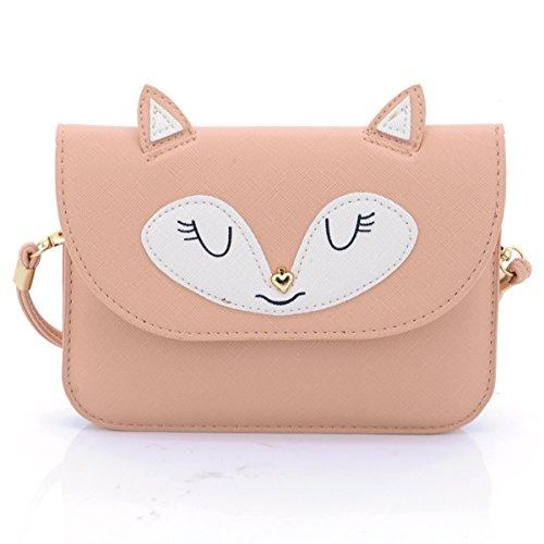 u-times universale multiuso piccolo Cute Cartoon Fox Pattern sintetico in pelle crossbody borsa tracolla 6Inch Cellulare Portafoglio, microfibra, 02-Pink, S
