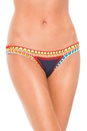 Kiini Women's Tasmin Hipster Bikini Bottom Navy/Multi M at Amazon