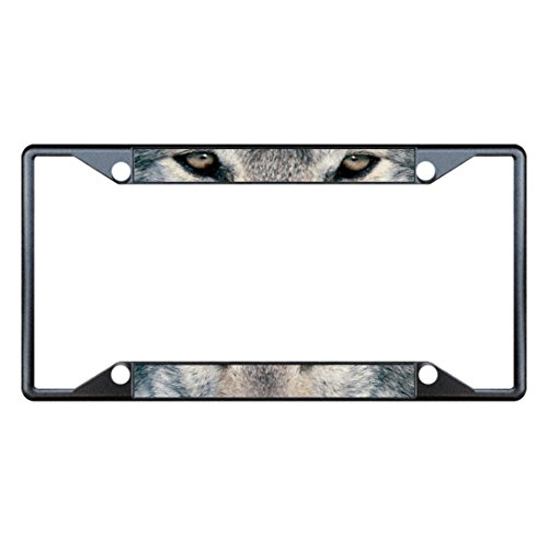 Wolf Animal Eyes Black Metal License Plate Frame Tag Holder Four Holes