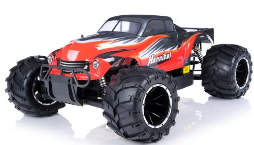 remote control radio control rc 1/5th Giant Scale Exceed RC Hannibal 30cc Gas-Engine Remote Controlled Off-Road RC Monster Truck w/ 2.4Ghz TX 100% RTR & Fail Safe (AA red- or next available- color may vary sent at random) (Grasshopper Remote Control Car compare prices)