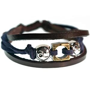 Yin-Yang Blue and Brown Leather Zen Bracelet (Silver Gift Box)