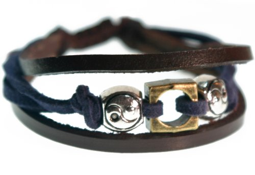 Yin-Yang Blue and Brown Leather Zen Bracelet (Foil Gift Box)