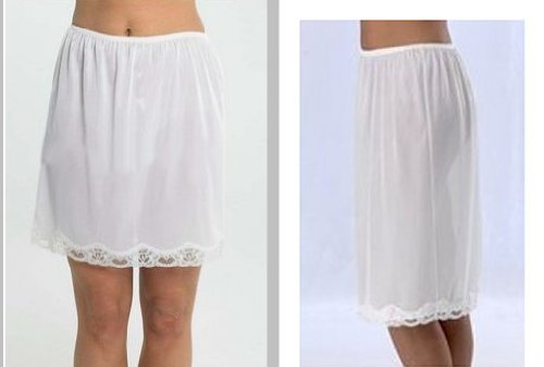 Waist slip with Lace Trim. Black, White or Cream. Length 24