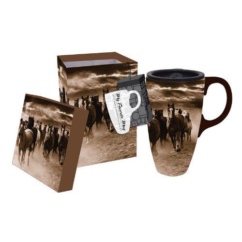 Running Horses Latte Travel Mug