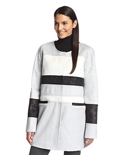Sam Edelman Women's Aiden Faux Shearling Colorblock Coat