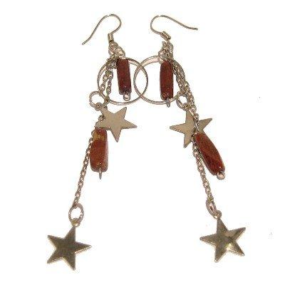 Jasper Earrings 20 Dangle Star Red Silver Chain Circle Long Crystal Healing Gemstone 3.5