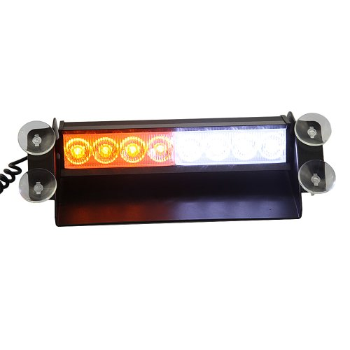 Gadgetzone(Us Seller) 8 Led Car Deck Truck Dash Dashboard Strobe Flash Warning Light Emergency Use Amber And White