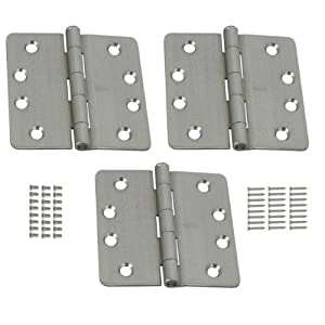 Stanley 821-546 4 Inch 1/4 Radius Template Door Hinges Satin Chrome (Pack of 3)
