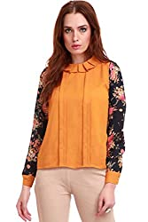 Floral Sleeves Pleated Collar Top