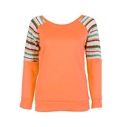 Fheaven Women Long Sleeve Embroidery Splicing Casual Loose Tops Sweatshirt Blouse (Orange)