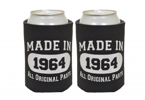 Made In 1964 50Th Birthday 2 Pack Can Coolies Black