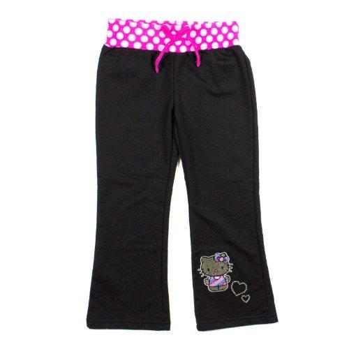 Girls Hello Kitty Embellished Sweatpants Pink Polka Dot Waistband 4 Black front-887863