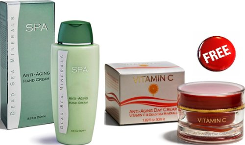 Spa Cosmetics Anti Aging Sale Anti Aging Day Cream Moisturizing & Brighting Vitamin C With Dead Sea Minerals 50 Ml For Free!!! + Anti Aging Hand Cream Metallic Green