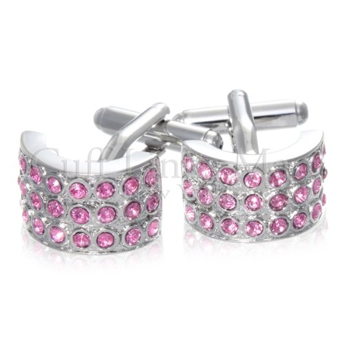 Curved Pink CZ Crystal Cuff Links-CL-0011