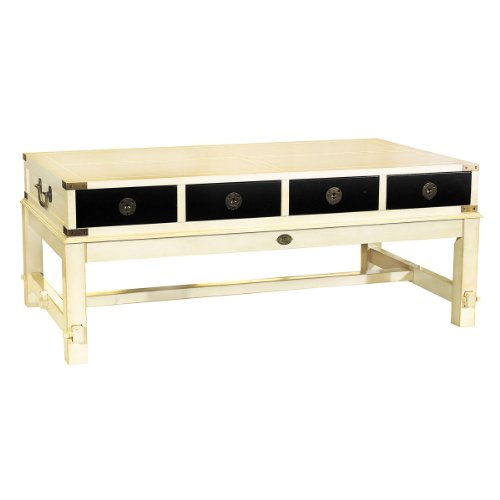 Bombay Salon Table In White - Folding Coffee Table - Features 8 Drawers - Solid Wood Construction In White And French Finish With Brass Accents - Authentic Models Mf097W