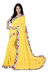 RadadiyaTRD Women's Georgette Saree With Fancy Border (Desire_Yellow_Lace_15K_Freesize)