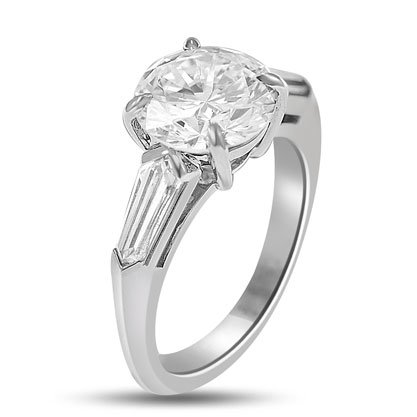 3.73 Ct 3-stone Gia Certified Diamond Engagement Ring in Platinum