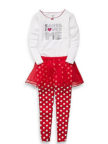 Carters Infant Girls Red Santa Love Me Outfit Pants Tutu Skirt & Glitter Shirt