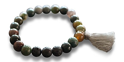 Mana Vibes Original Essential Oil Beaded Bracelet Semi Precious Gemstones Three Grey Lava Beads, Tassel Bracelet (Indian Agate Black Lava Beads) (Bracelet With Gems compare prices)