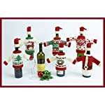 Wine Bottle Cover Set of 2, Christmas Wine Decoration, Wine Bottle Dress, Knit Sweater Bottle Topper, Knit Bottle Cover w/ Hat, Holiday Clothing, Christmas Wine Gift Giving Idea!