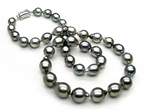 Tahitian Drop Pearl Necklace 8.1x10.8mm. with 18K Clasp