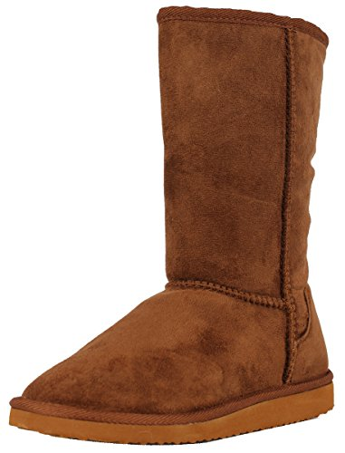 Soda Women's Soong Comfort Faux Suede Fur Mid- Calf Flat Boot, Dark Camel, 8 M US (Soda Suede Boots compare prices)