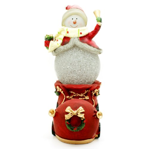 TII Collections Resin Christmas Snowman In Boot-Shaped Train LED Light Figurine - Lights Up!