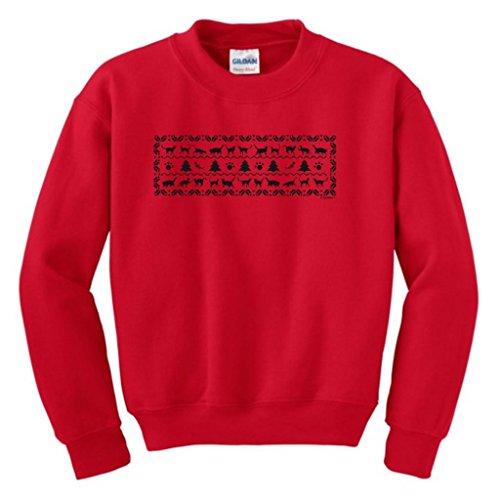 Kitty Cat Ugly Christmas Sweater Youth Crewneck Sweatshirt Medium Red