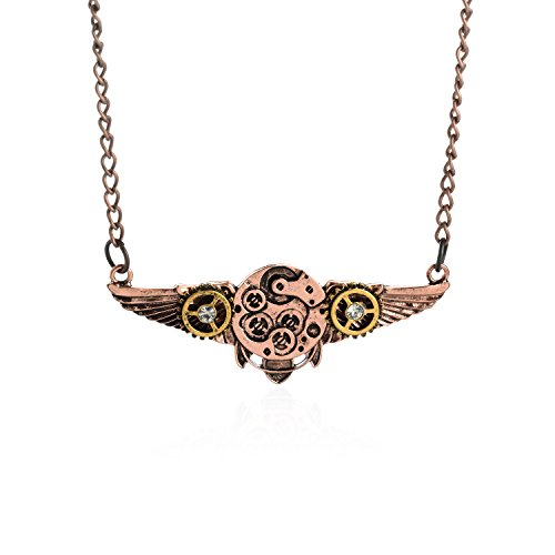 AOLO-Antiqued-Copper-Angel-Wings-Gear-Bee-Shape-Pendant-Steampunk-Necklace