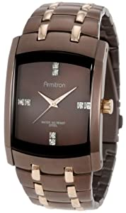 Armitron Men's 20/4507BNRG Swarovski Crystal Dial Brown Ion-Plated and Rosegold-Tone Bracelet Watch