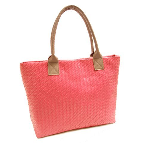 Trendy Women'S Shoulder Bag With Weaving And Candy Color Design front-692733