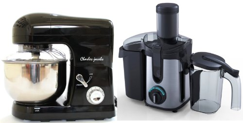 PACKAGE DEAL Kitchen Powerful FOOD MIXER 5L in Black, Most POWERFUL 1200W + Charles Jacobs 2.0L ELECTRIC Whole FRUIT JUICER in Black Compact 800W POWER, comes with BRUSH for cleaning from Charles Jacobs