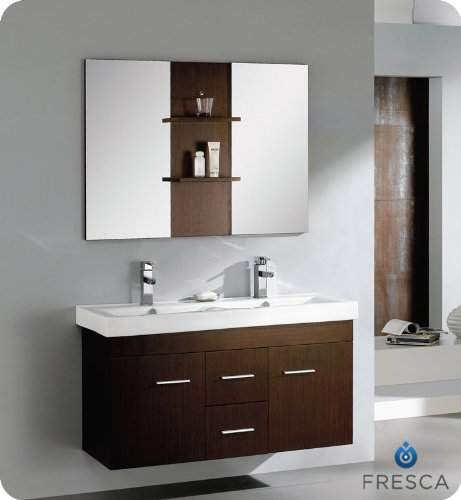 "Vilanie 48"" Modern Double Sink Bathroom Vanity With Mirror In Wenge Brown Finish / Faucet Style: Brushed Nickel / Savio"