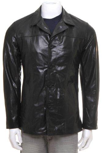 MDK Mens Leather Jacket Barry Black 2XL