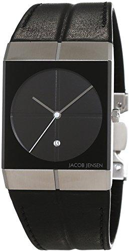 JACOB JENSEN - JACOB JENSEN 230 - Montre Mixte - Quartz - Analogique - Bracelet cuir noir