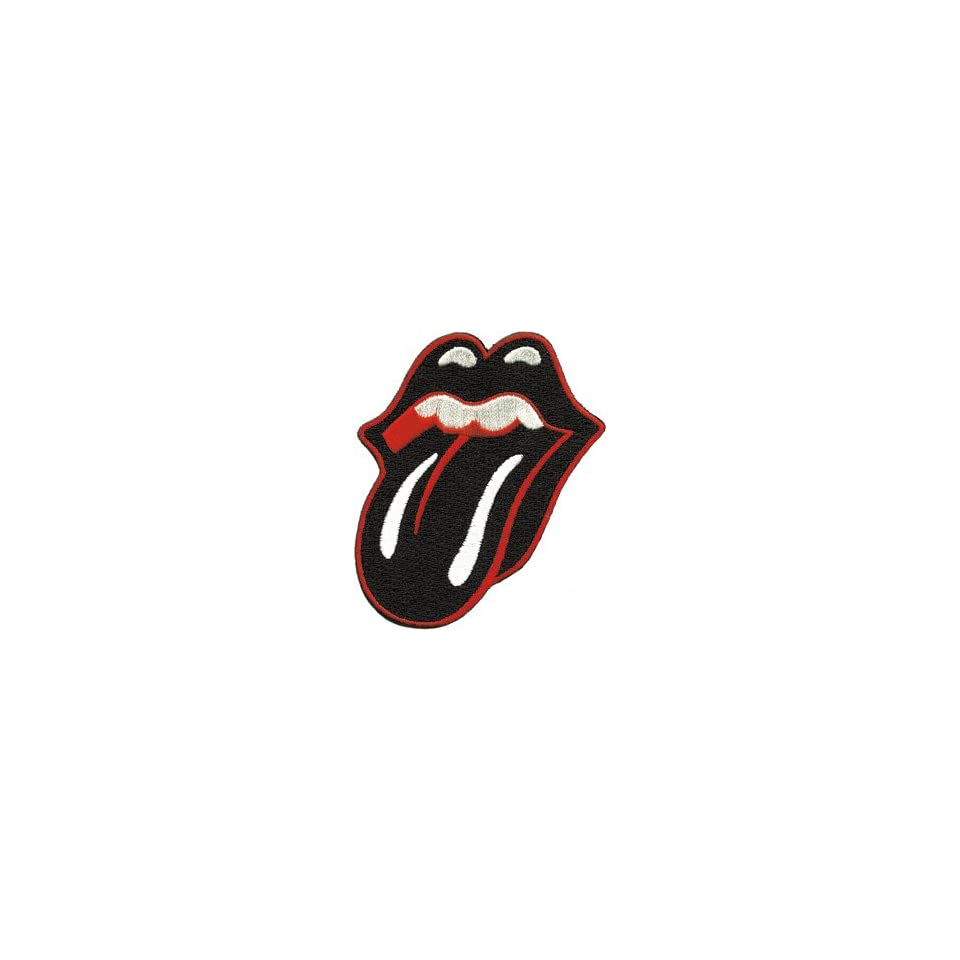 THE ROLLING STONES BLACK TONGUE EMBROIDERED PATCH