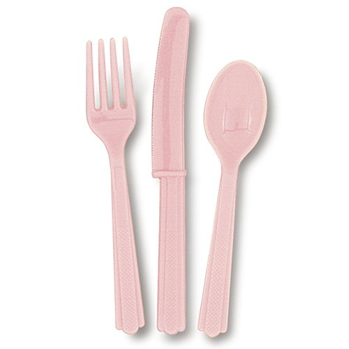 18 Count Assorted Cutlery Set, Light Pink