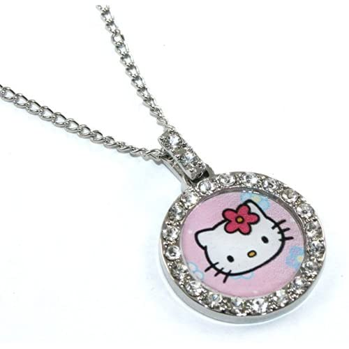 Licensed Sanrio Hello Kitty Classic Charm Necklace with Czech Crystals