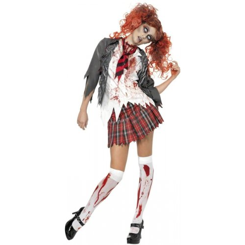 High School Horror Zombie Schoolgirl Costume - Medium - Dress Size 10-12