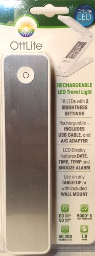 Ottlite® Rechargeable Led Travel Light, Snooze Alarm, Time, Temp & Date (White/Silver)